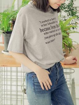 tokichoi-人手一件多色休閒印字棉質T恤上衣-灰