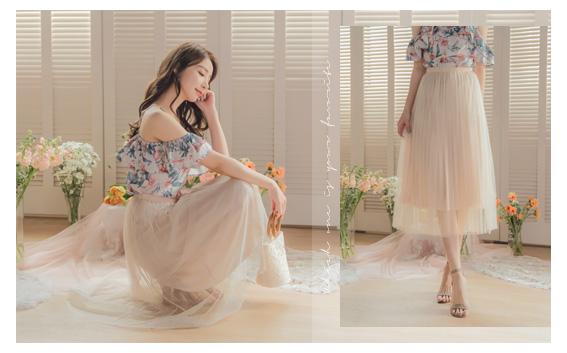 YOCO-浪漫優雅多色腰鬆緊飄逸紗裙-杏