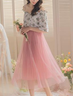 YOCO-浪漫優雅多色腰鬆緊飄逸紗裙-粉色