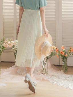 YOCO-浪漫優雅多色腰鬆緊飄逸紗裙-米白