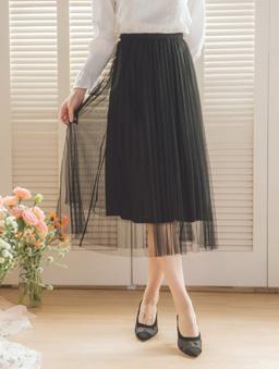 YOCO-浪漫優雅多色腰鬆緊飄逸紗裙-黑