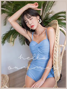 tokichoi-純色側邊抓皺細肩連身泳衣-藍