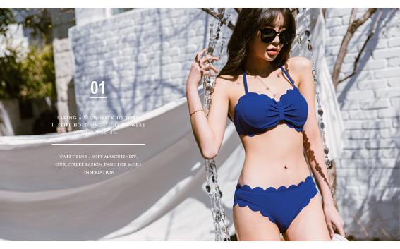 tokichoi-花瓣波浪滾邊多色綁脖兩截式泳衣-深藍