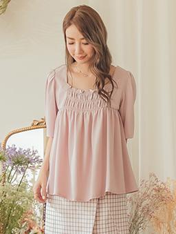 YOCO-經典浪漫方領鬆緊設計娃娃裝上衣-粉色