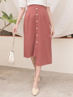 KODZ-氣質優雅多色排釦設計不規則長裙-粉色