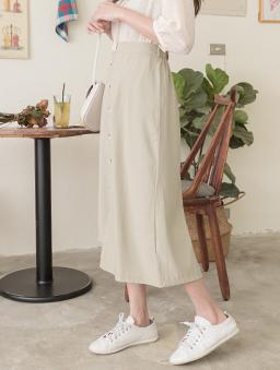 KODZ-氣質優雅多色排釦設計不規則長裙-綠