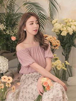 YOCO-日系蜜糖皺褶紋一字領上衣-粉色