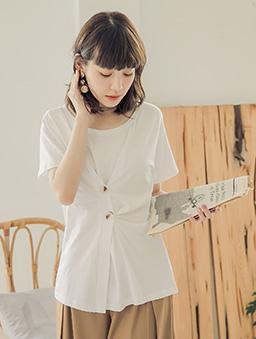 tokichoi-一秒出門假兩件排釦棉質上衣-白色