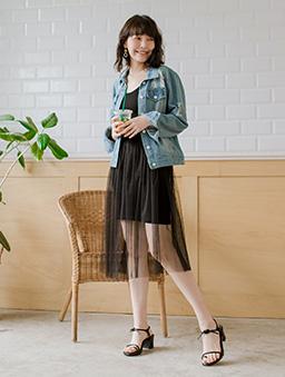 tokichoi-穿搭必備細肩帶連身紗裙-黑