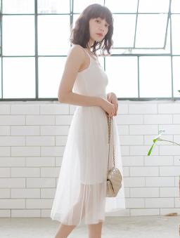 tokichoi-穿搭必備細肩帶連身紗裙-白色