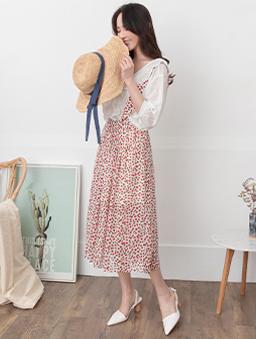 YOCO-浪漫綻放碎花打褶吊帶中長裙-紅