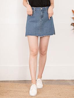 tokichoi-學院女孩不收邊側開衩A字牛仔短裙-深藍