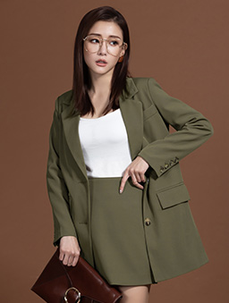 KODZx許允樂-絕對修身復古感西裝外套-軍綠