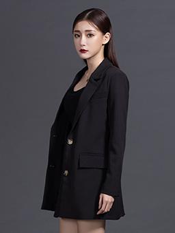 KODZx許允樂-絕對修身復古感西裝外套-黑