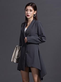 KODZx許允樂-回頭率200%一件式西裝洋裝-深灰
