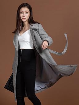 KODZx許允樂-小樂風毛呢編織綁帶長版大衣/外套-灰