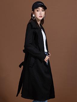 KODZx許允樂-小樂風毛呢編織綁帶長版大衣/外套-黑