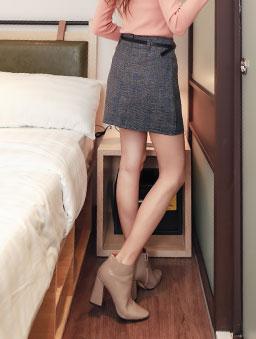tokichoi-甜美女孩格紋前片開衩多色A字短裙-深灰