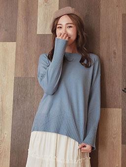 tokichoi-粉彩棉花糖柔軟圓領側開衩多色針織毛衣-藍