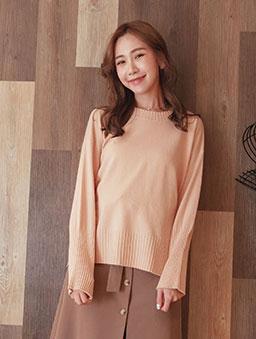 tokichoi-粉彩棉花糖柔軟圓領側開衩多色針織毛衣-粉色