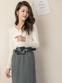 tokichoi-實搭多色彈性坑條彈性V領上衣-白色