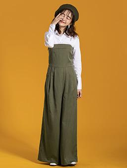 西裝面料露肩平口直條紋連身褲-綠