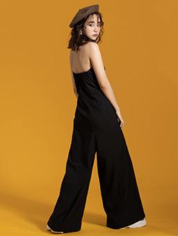 KODZx許允樂-西裝面料露肩平口直條紋連身褲-黑