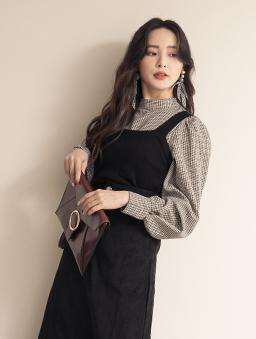時髦甜心格紋蓬蓬袖襯衫X針織背心真兩件式上衣-黑