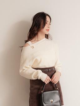 甜美日系露單肩質感釦圓領毛衣/上衣-白色