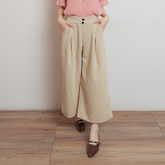 優雅Lady排釦抓褶設計寬褲