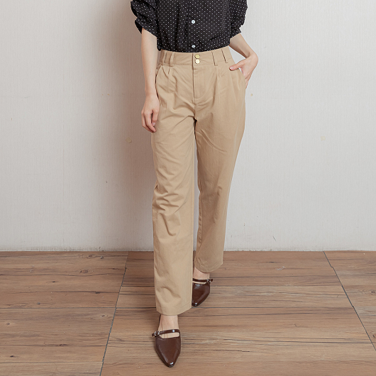 簡約OL雙排釦抓皺設計長褲