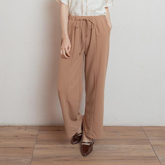 時尚韓風立體打褶腰鬆緊休閒長褲