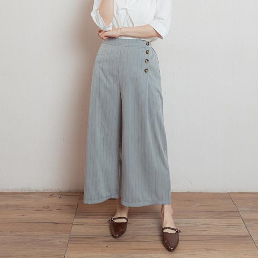 氣質女孩側排釦條紋長褲