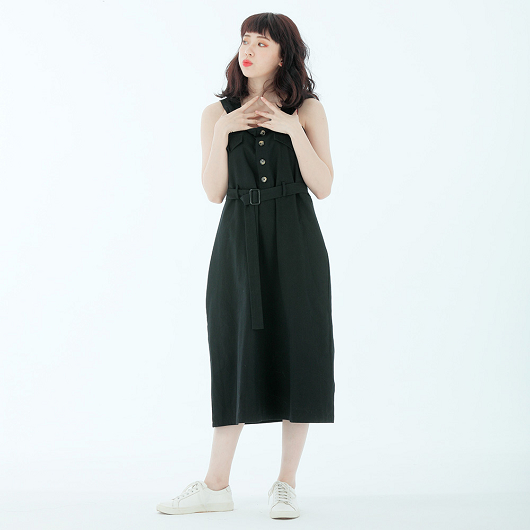 網紅私著排釦附綁帶方領洋裝