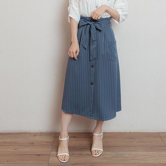 職場時尚高腰直條紋假排釦附綁帶長裙