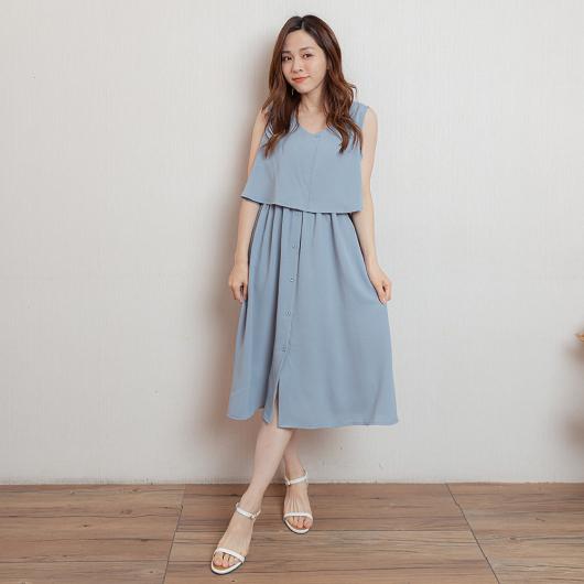 時尚韓妞飄逸雪紡縮腰排釦洋裝