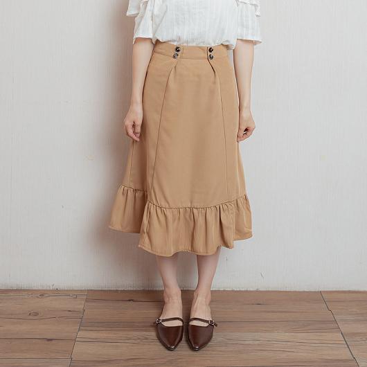 華麗氣質雙排釦打摺荷葉下擺長裙