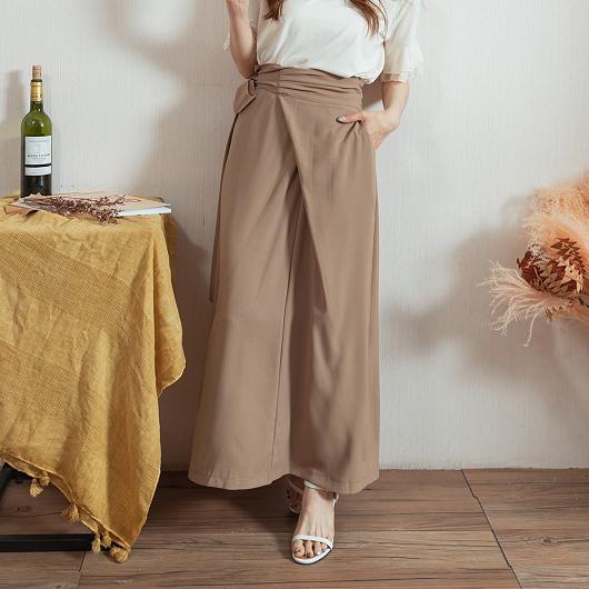 女人味滿點側抓皺設計綁帶多色後開衩長裙
