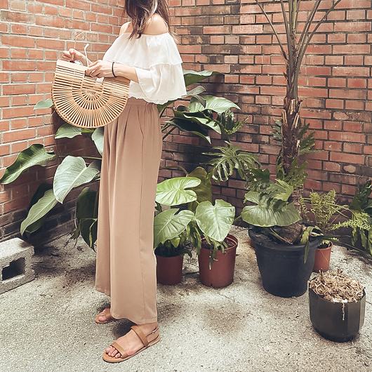 職場女神多色排釦打摺設計西裝長褲/寬褲