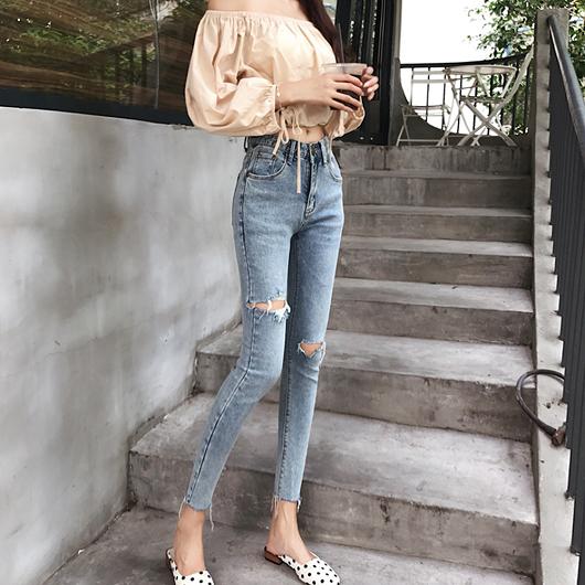 韓妞日常高腰抓破設計九分牛仔褲