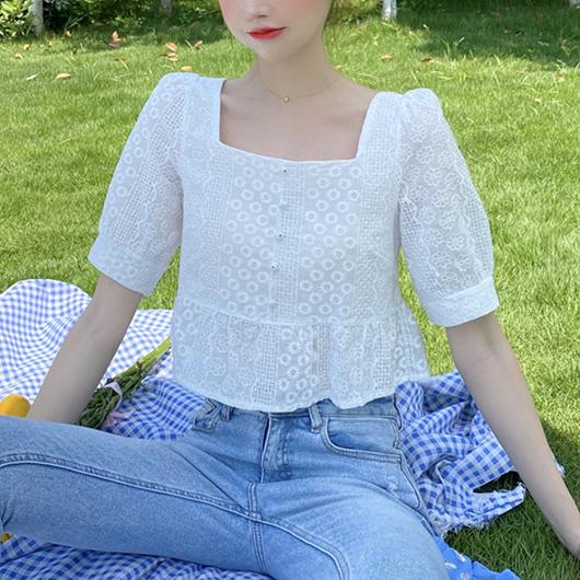 南法莊園蕾絲方領高腰短版上衣