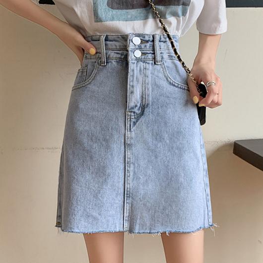 陽光少女高腰不收邊刷色感牛仔裙