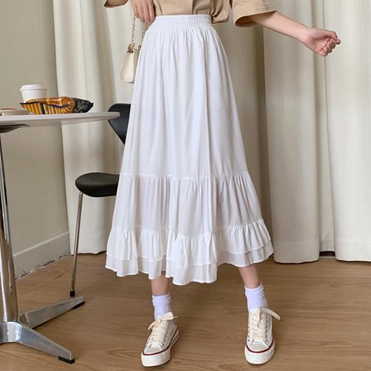 香草芋頭層次感荷葉造型長裙