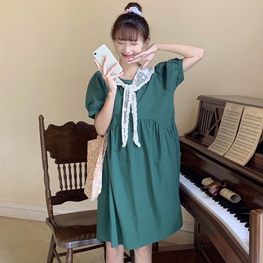 俏皮女孩圓弧剪裁寬鬆版娃娃洋裝