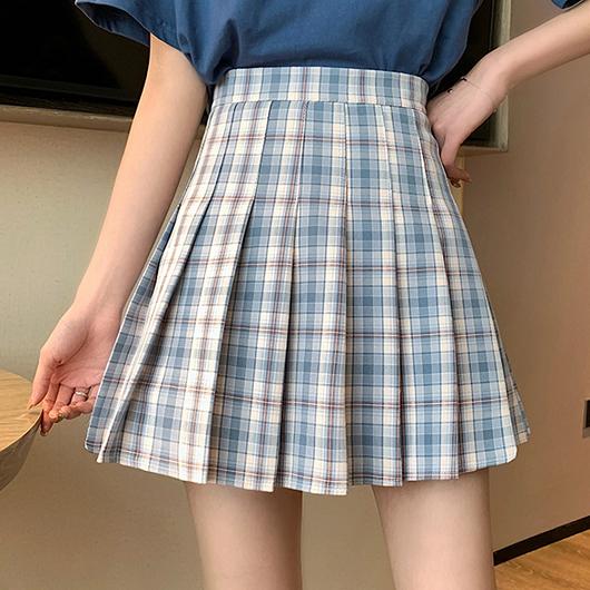 元氣少女配色格紋百褶短裙