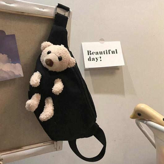 可愛元素毛絨小熊可拆造型腰包