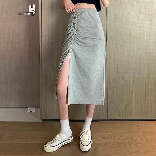 很swag魅力抽繩造型開衩長裙