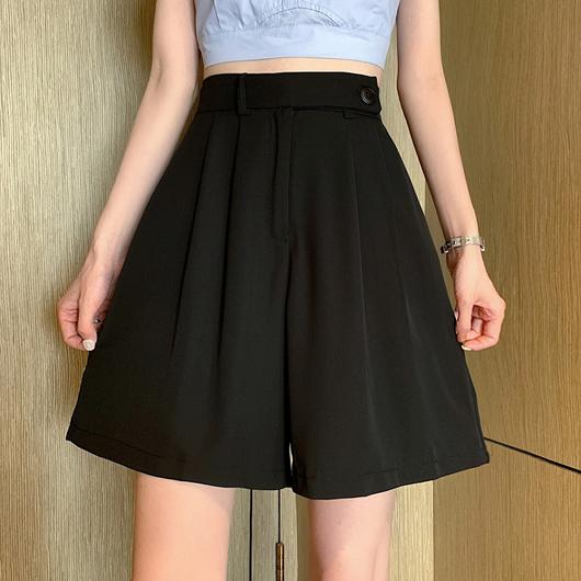 時尚簡約高腰西裝打折短版五分寬褲