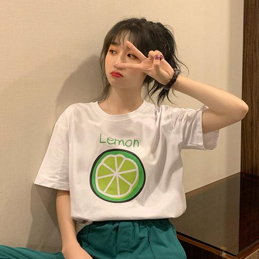 酸酸甜甜檸檬切片舒適寬版印花T/上衣
