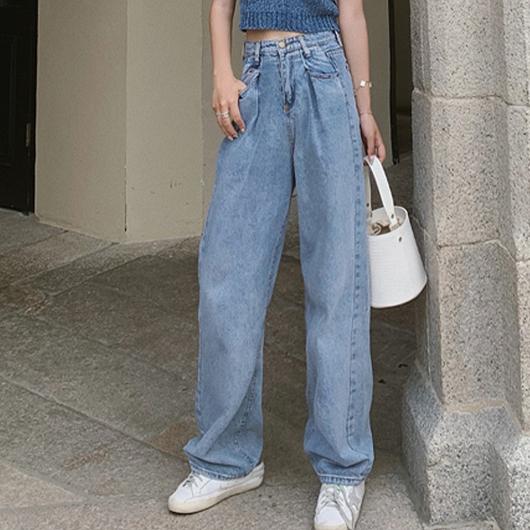 米蘭街頭刷色腰褶牛仔寬褲
